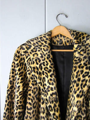 THE PERFECT VINTAGE 1960s LEOPARD FAUX FUR TRENCH COAT JACKET M L XL