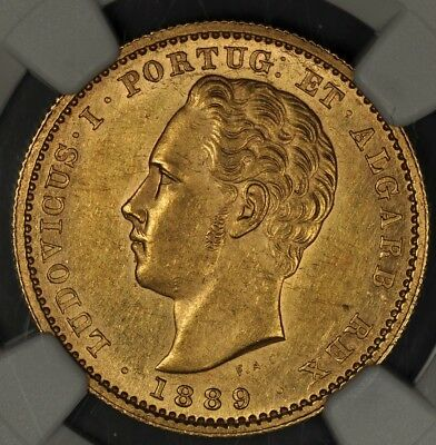 1889 Ngc Ms60 Portugal Gold 5000 Reis