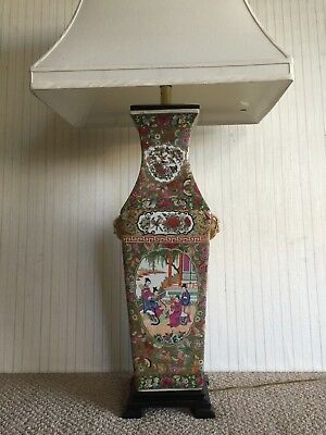 "Huge Chinese Famille Rose Handpainted Porcelain Table Lamp, 44"" T, 24"" T (Vase)"