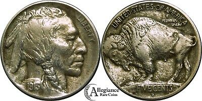 1913-D 5c Type 1 Buffalo Nickel AU details type I rare old coin