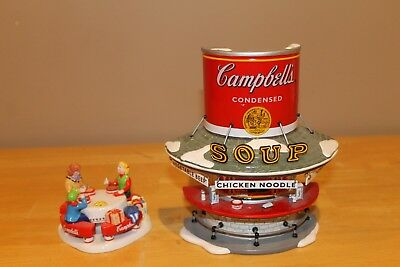"""Dept 56 Snow Village Campbells Soup Counter with extra """"Mm Mm Good"""" Accessory"""