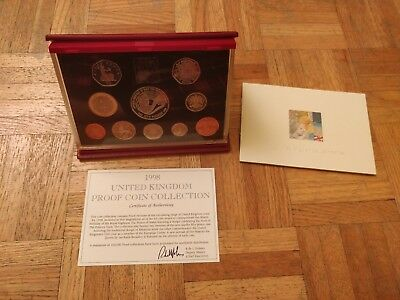 1998 United Kingdom Deluxe Proof Set 10 Coin Set with COA & Leather Case