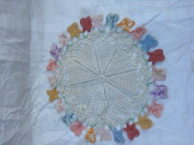 """Small Antique Round Table Linen 18"""" across - Colorful"""