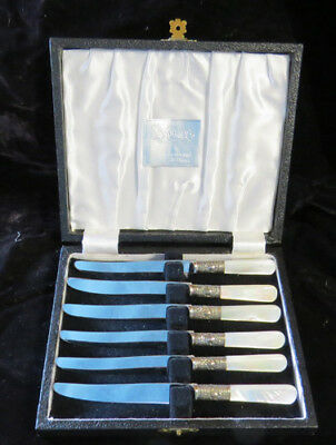 Vintage Sheffield England set of fruit or cheese knives w mother of pearl handle