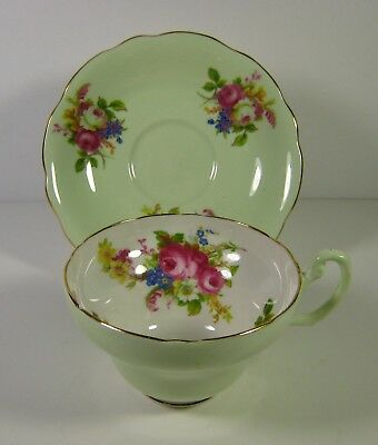 Green Foley Tea Cup and Saucer with Floral Bouquet