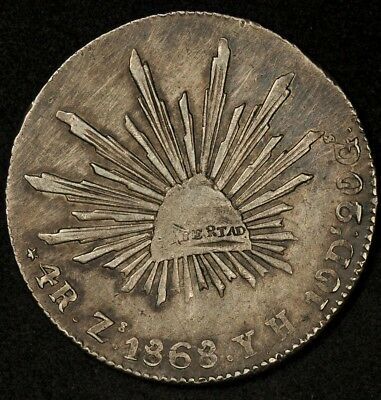 1868-Zs YH MEXICO 4 REALES NICE DETAILS AND COLOR RARE HIGH GRADE