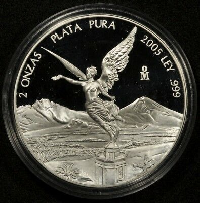 2005 MEXICO 2oz SILVER LIBERTAD KM-614 PROOF JUST 600 MINTED!