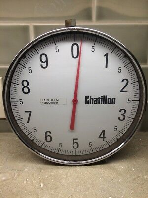 "12"" Dial Chatillon Hanging Crane Scale WT-12 1000x5 Lbs"