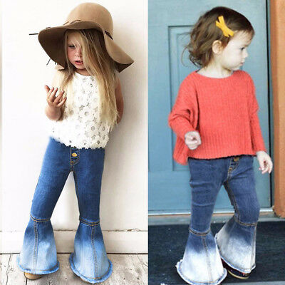 Fashion Children Infant Kid Girls Vintage Jeans Flare Denim Pants Long Trousers