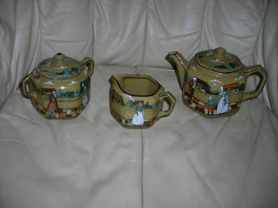 3 Piece Antique Deldare Ware Buffalo Pottery Tea/coffee Set Signed Dated 1909