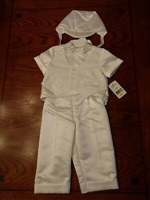 18 mo. Baby Boys 3 Pc. Christening Baptism Outfit Vestie Pants Hat Set NWT