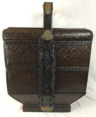 "3 Tier Chinese Antique Brown Wooden Wedding Basket 27"" high"