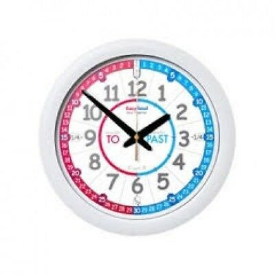 NEW EasyRead Time Teacher Wall Clock Red & Blue Face Past & To Kids Learning