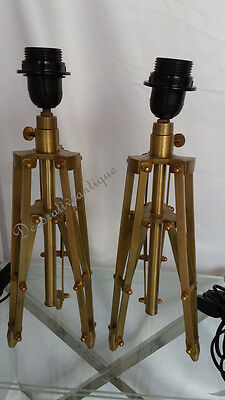Pair Of Two Fully Brass Finish Reproduction Table Lamp Stand Vintage Decor