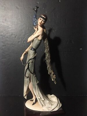 "Giuseppe Armani 1987 art deco Lady with Peacock VERY RARE 19.5"" Limited Edition"