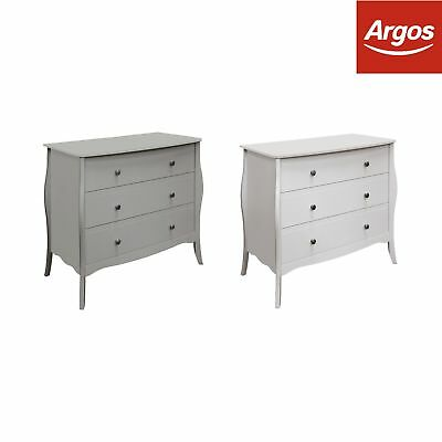 Baroque 3 Drawer Chest - Choice of Grey / White.