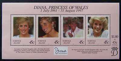 1998 Norfolk Island Stamps - Diana Princess of Wales - Mini Sheet MNH