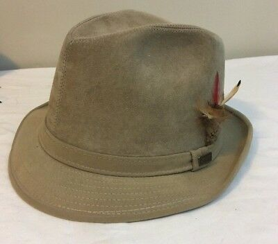 Dobbs Fifth Avenue New York Men's Suede Leather Hat Fedora 7 Tan Free Shipping