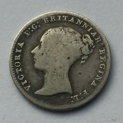 Rare, Great Britain Four Pence Silver Coin, issued in 1848, circulated