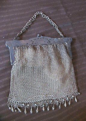 Antique Late 1800s Victorian German Silver Mesh Bag Purse~Fringe Tassels~Ornate