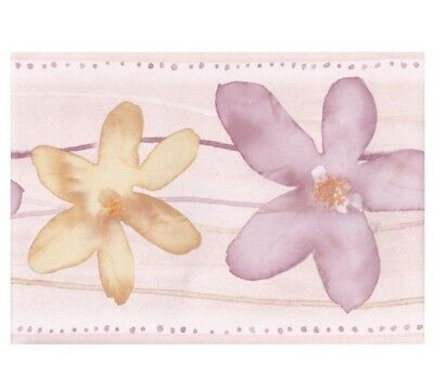Floral Flower Pastel Pink Yellow Wallpaper Border Norwall CT78165L