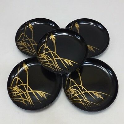 F910: Japanese old lacquer ware five plates KASHIKI with rice stalk MAKIE