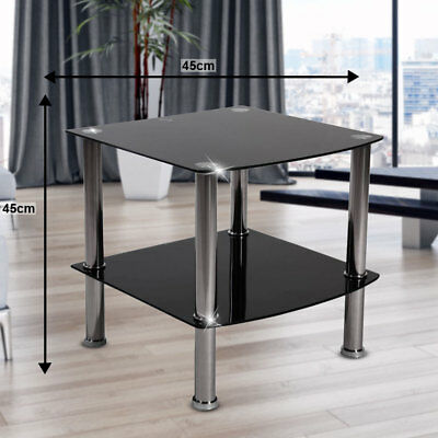 Design Side Office Living ESS Room Glass Couch Table Black Steel Pipe H 43 cm