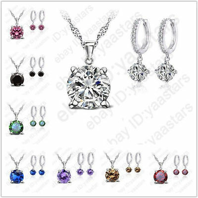 Fashion 925 Sterling Silver Coat Bridal Wedding Party Jewelry Sets Multi Colors