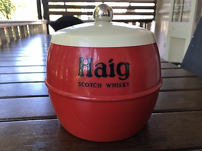 vintage retro red haig scotch whisky ice bucket england insulex