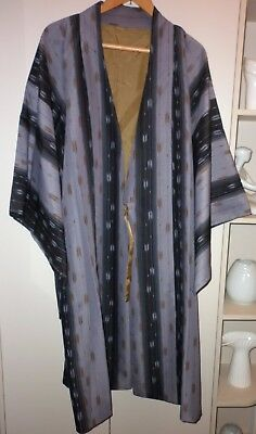 "Vintage Japanese Abstract Grey ""ikat"" Silk Kimono  Jacket Great Condition"