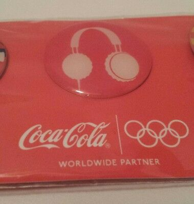 Coca-Cola OLYMPIC PINS Set of 3 BOTTLE Headphones OLYMPIC RINGS 2011 LONDON Coke