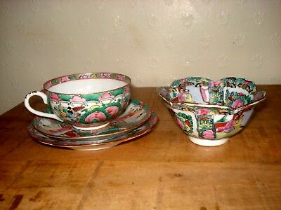 1xstunning chinese republic period colourful teacup set and 1xbowl