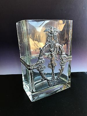 Vintage Collectable Glass Vase With Beautiful Patina On Metal Deco