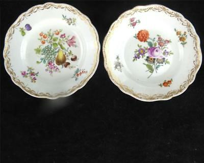 Two Antique Meissen Outside Decorated Dresden Porcelain Side Plates