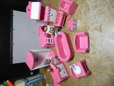 Early Learning Centre Pink Wooden Dolls House Furniture 12 Pieces Bedroom  Bath
