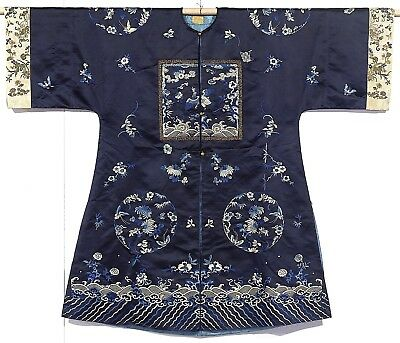 Chinese Dark Blue Embroidered Silk Surcoat Late 19th or early 20th Century