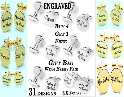 Engraved Silver Custom Cufflinks Cuff & Links Gift Wedding Personalised Best Man