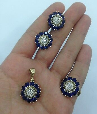 Daisy Design 925 Sterling Silver Handmade Jewelry Blue Sapphire Ladie's Set