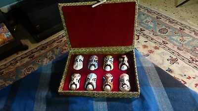 Chinese Opera Painted Mask Face Clay Zhang Figurines Ceramic Art Box Set Of 8 VG
