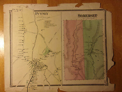 """1869 Map Putney & Somerset Vermont & Business Directory (12x15"""")"""