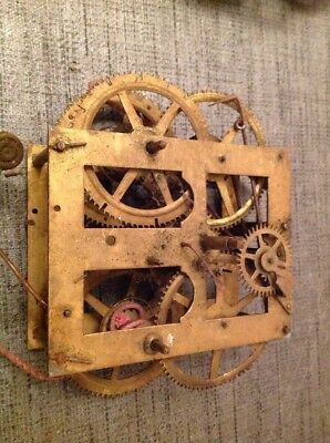 Antique Clock Movement Weight Driven 95x110mm Untested Repair Or Spare Parts