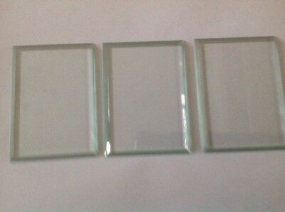 Bevelled Carriage Clock Glass Bevelled Rectangle Set Of Three 85mm 62mm Ref 5