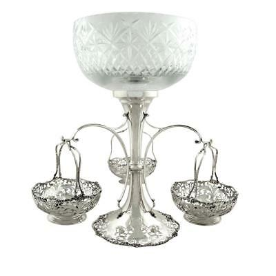 "Antique Sterling Silver & Cut Glass 14"" Epergne Centrepiece - Mappin & Webb 1916"