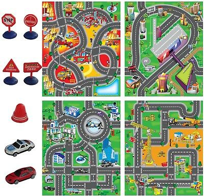 Child's Kids Car Road City Town Circuit Play Mat Carpet Rug Toy Gift With Cars