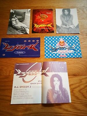 Rare Original Bjork Lot Of 4 Promo Postcards & 2 Flyers 1994 - 1995
