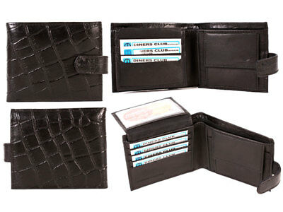 Mens Real Leather Wallet Bifold Crocodile Snake Skin Effect Credit Card Rfid