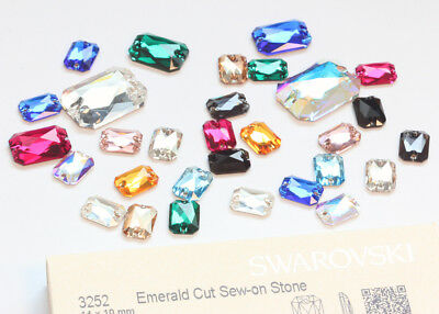 Genuine SWAROVSKI 3252 Emerald Cut Sew-On Stones Crystals * Many Colors