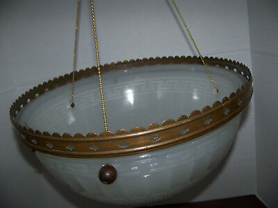 Vntg Round Glass Ceiling Light Hanging Dome 3 Hole Chain Brass Rim Greek Large