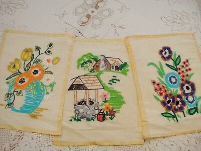 Vintage Embroidery Work...3 Panels Ready To Be Used In Your Craft Project