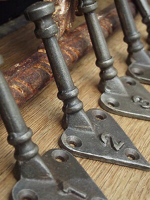 Five Numbered Vintage Style Cast Iron Coat Hooks pegs rail rack door arts crafts